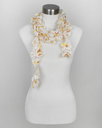 Orange Chiffon Floral and Dot Printed Ruffle Scarf