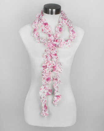 Pink Chiffon Floral and Dot Printed Ruffle Scarf