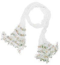 White Multi-colored Open Weave Tube Sash Scarf