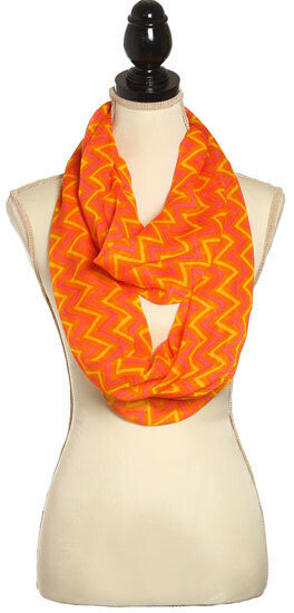 Orange Fuschia Polyester Infinity Scarf With Chevron Design
