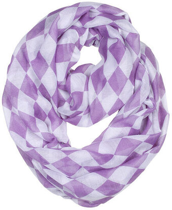 Lavender Polyester Infinity Scarf With Block Check Pattern