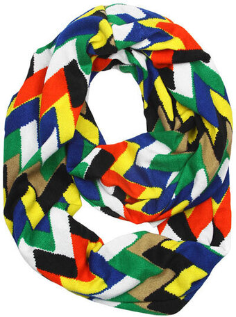 Polyester Multi Color Chevron Infinity Scarf - Orange Blue