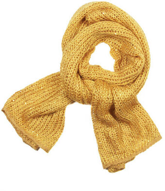Sequine Knit Shawl Scarf - Gold