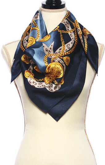 Floral and Chain Print Twill Silk Scarf - Navy