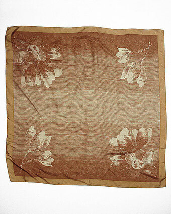 Floral Ombre Print Jacquard Silk Scarf - Brown