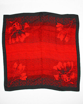 Floral Ombre Print Jacquard Silk Scarf - Red