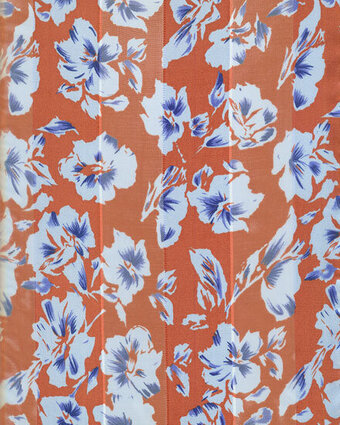 Print Scarf - 13x60 Satin Stripe - Flowers - Orange