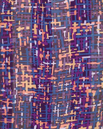 Print Scarf - 13x60 Satin Stripe - Abstract - Purple