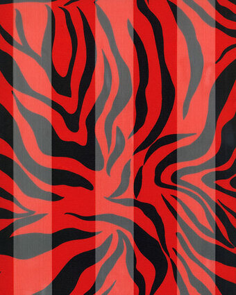 Print Scarf - 13x60 Satin Stripe - Zebra - Red