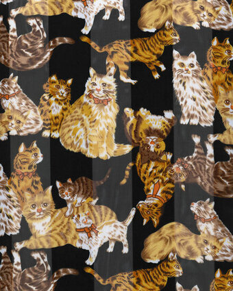 Print Scarf - 13x60 Satin Stripe - Cats - Black