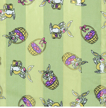 Mint Green Polyester 21x21 Satin Stripe Easter Bunny Scarf