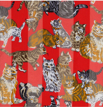 Red Polyester 21x21 Satin Stripe Cats Scarf