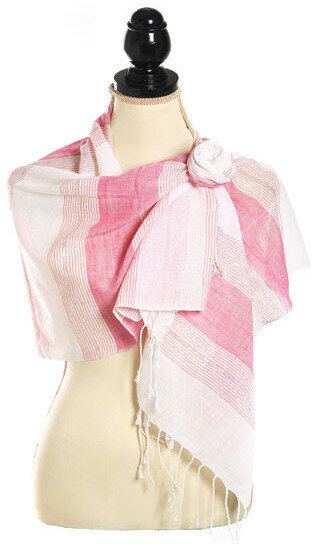 Cotton Lurex Woven Yarn Dyed Stripe Scarf - Pink