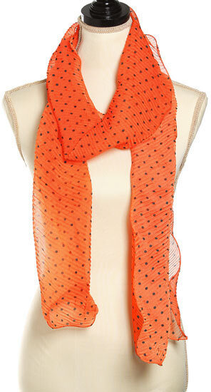 Orange Polyester Woven Small Polka Dots Ruffle Oblong Scarf