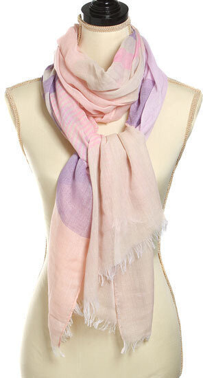 Pink and Purple 100% Polyester Stripe Design Scarf