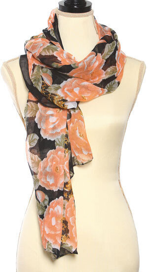 Black and Orange Polyester Flower Print Oblong Scarf