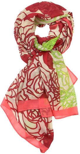 Polyester Flower Print Oblong Scarf