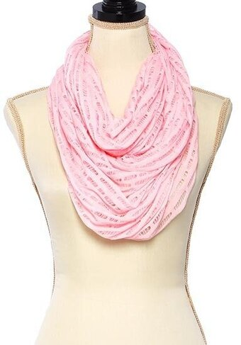 Polyester Jersey Solid Net Infinity Scarf - Light Pink
