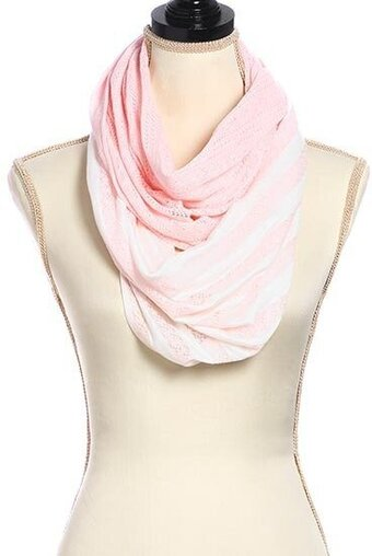 Light Pink Woven Two Tone Stripe Infinity Scarf