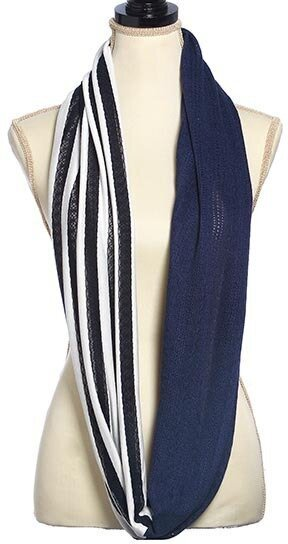 Navy Woven Two Tone Stripe Infinity Scarf