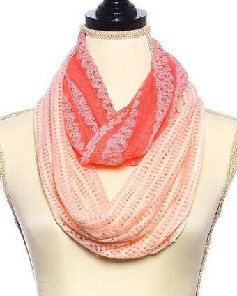 Peach and Coral Knit Sequins Stripe Infinity Scarf