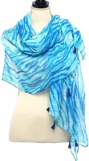 Ivory and Blue Animal Printed Oblong Scarf With Fringe