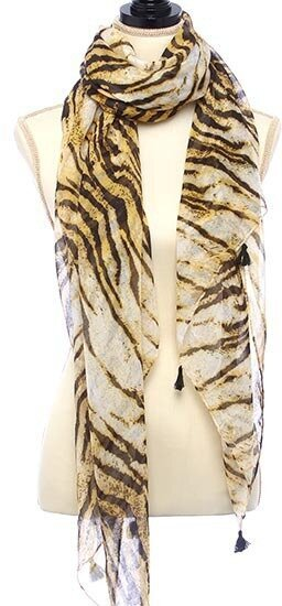 Ivory and Brown Animal Printed Oblong Scarf With Fringe