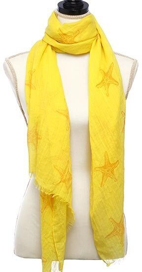 Yellow Viscose Woven Starfish Printed Oblong Scarf