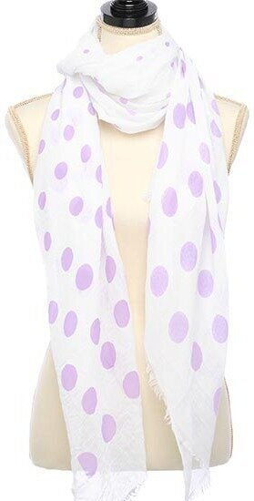 White Purple Viscose Woven Polka Dot Oblong Scarf