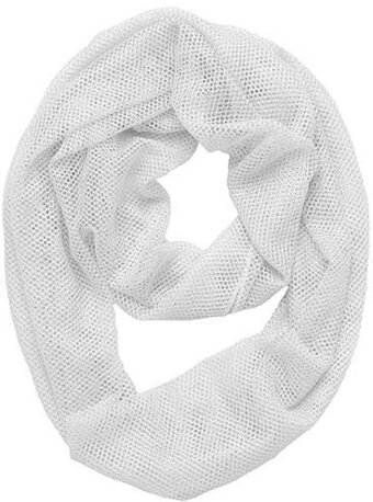White Viscose Woven Two-tone Metallic Infinity Scarf
