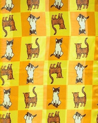 Print Scarf - 13x60 Satin Stripe - Cats - Gold and Sage