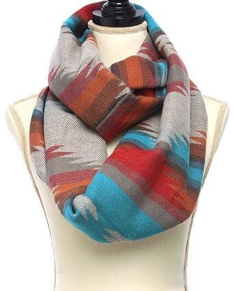 Aztec Design Blanket Infinity Scarf - Blue Orange