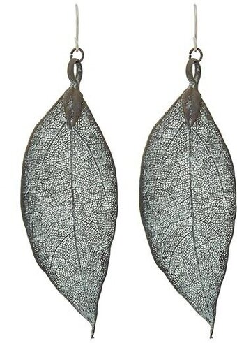 Patina Metal Fish Hook Leaf Dangle Earrings