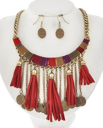Burnished Gold Tone Red Suede and Thread Tassel Necklace