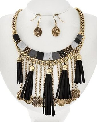Burnished Gold Tone Black Suede and Thread Tassel Necklace