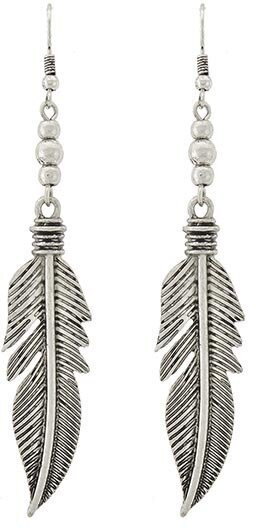 Burnished Silver Tone Fish Hook Feather Dangle Earrings