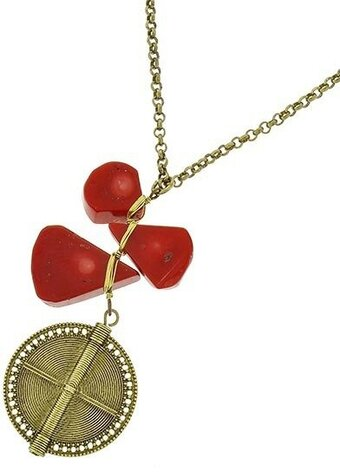Burnished Gold Tone Red Stone Pendant Necklace