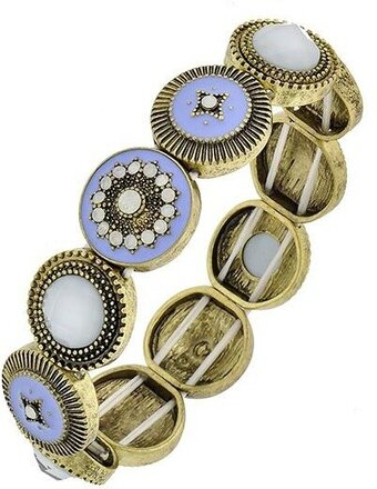 Stretch Bracelet - Burnished Gold Tone and Light Blue