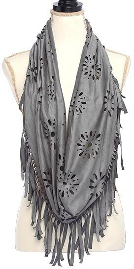 Grey Polyester and Spandex Suede Laser Cut Infinity Scarf