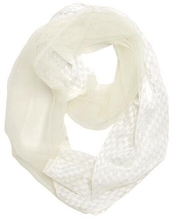 Ivory 100% Polyester Mesh Checker Infinity Scarf