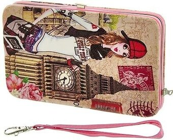Leatherette Travel Theme Wallet - Pink