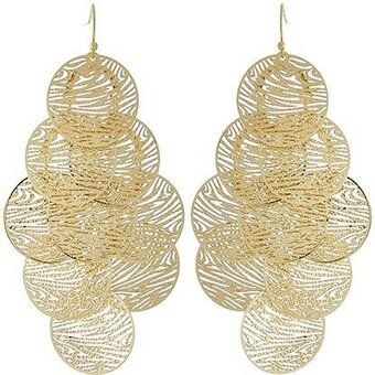 Gold Tone Thin Metal Chandelier Earring Set