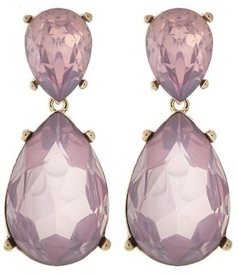 Lavender Opal Acrylic Clip-on Teardrop Dangle Earring Set