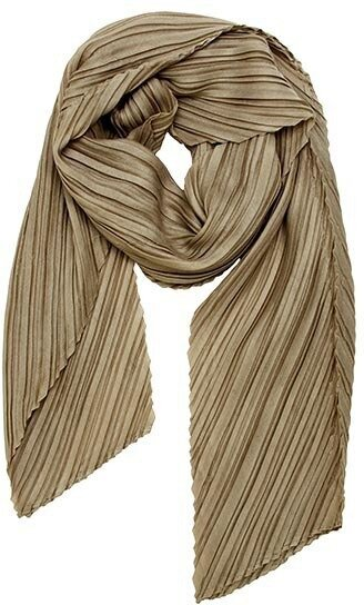 Khaki Polyester Solid Color Accordion Scarf