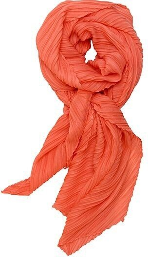 Coral Polyester Solid Color Accordion Scarf