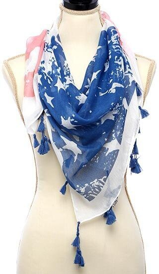 American Flag With Tassel Trim Oblong Scarf