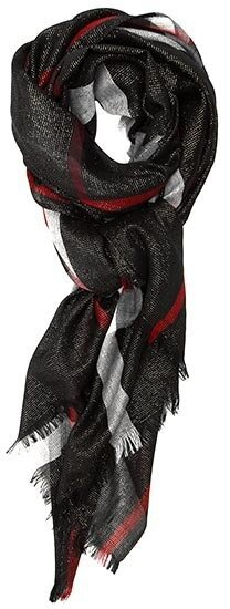 Black Classic Plaid Oblong Scarf