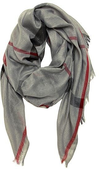 Grey Classic Plaid Oblong Scarf
