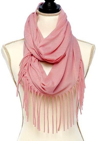 Solid Jersey Knit Fringe Infinity Scarf - Pink