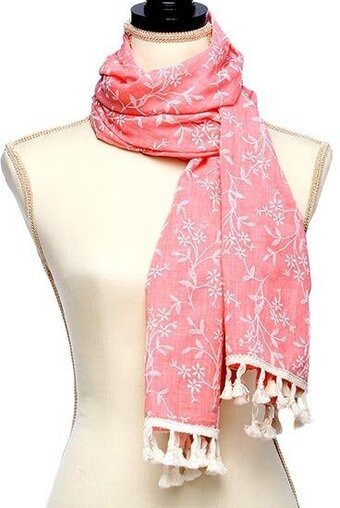 Peach Polyester Cotton Embroidered With Tassel Scarf